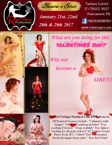 Red Siren Productions January Boudoir & Pinup Special January 21st, 22nd 28th& 29th 2017